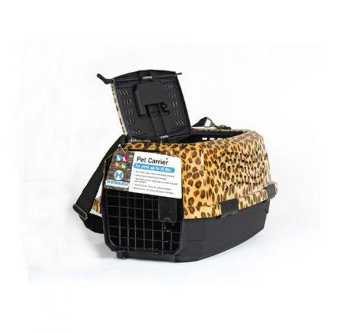 """מנשא לכלבים וחתולים מנומר 2 דלתות - 48 ס""""מ"""