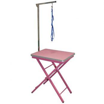"""Show Tech – שולחן תערוכות קטן 60x45x73-82 ס""""מ – ורוד"""