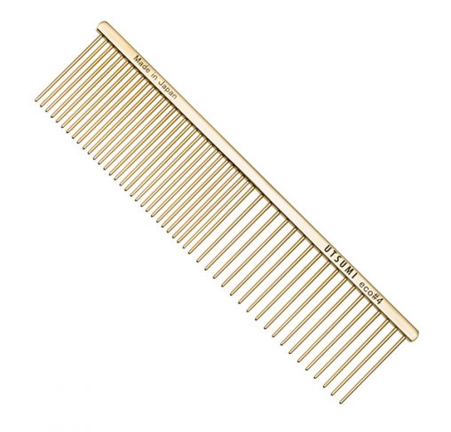 "UTSUMI - מסרק 19 ס""מ שיניים באורך 4 ס""מ 50/50 - Eco #4 - זהב"