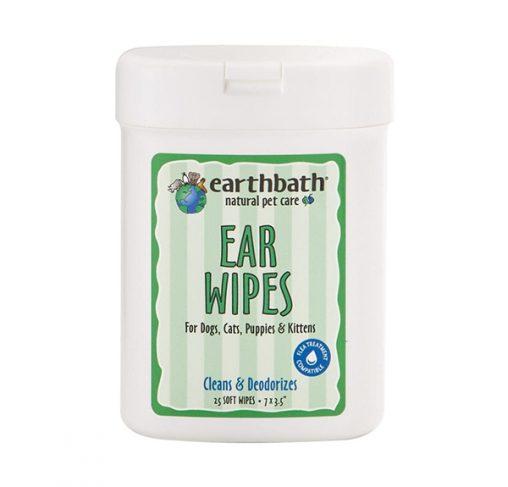 EarthBath - מגבונים לניקוי האוזניים לכלבים וחתולים