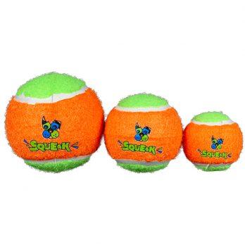 Spunky Pup – שלישיית כדורי טניס מצפצפים – שלושה גדלים