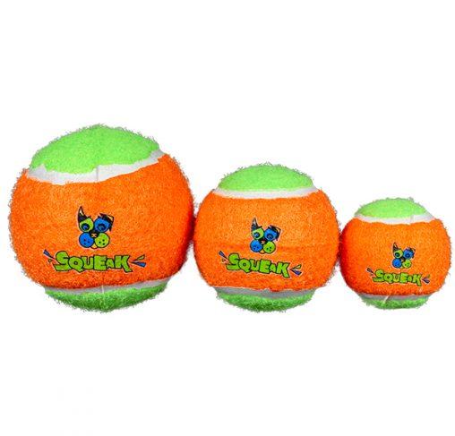 Spunky Pup - שלישיית כדורי טניס מצפצפים - שלושה גדלים