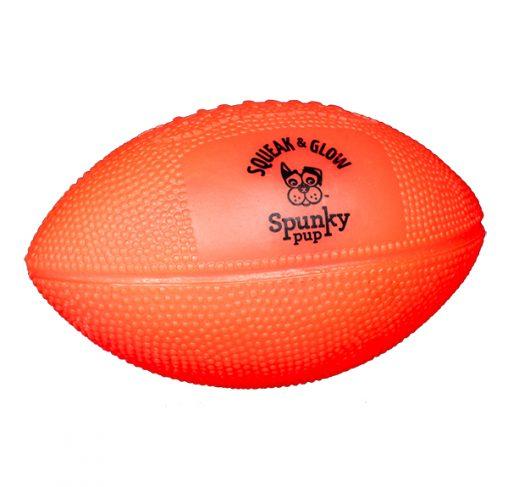 Spunky Pup - צעצוע זריקה כדורגל אמריקאי מצפצף זוהר בחושך