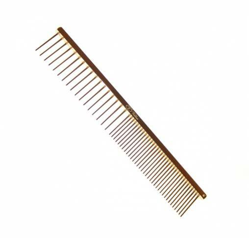 "Vellus - מסרק 19 ס""מ 50/50 מרווח בין הפינים 2.5 ס""מ מצופה זהב 22 קראט"
