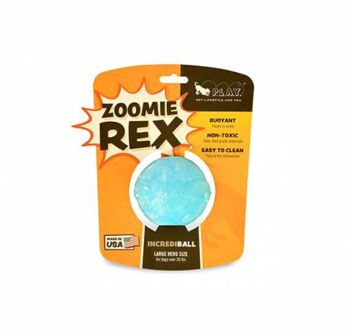 Pet Play - צעצוע כדור קופץ וצף כחול - ECO Play ZoomieRex IncrediBall Blue